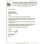 Letter confirming Doshu Wilkes as Chairman of the USJA Aikido Division, Feb 16, 2000